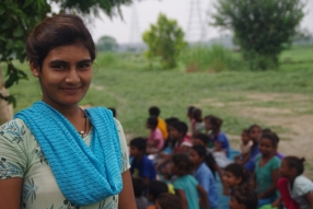 One of the tutors we are training, at one of the slums in India where Charity United's educational programs are in place.