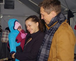 The dad arrived with his baby in a baby carrier