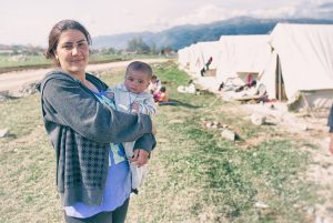 A refugee mother with her child