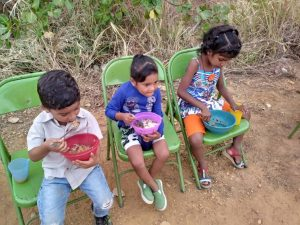 Children receiving food